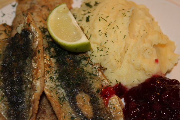 Fried Baltic Herring With Mashed Potato And Lingonberry Jam