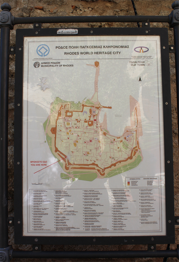 Old Town Rhodes Greece Map