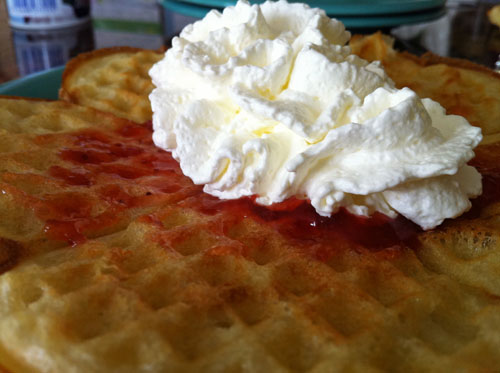 Waffle Day waffles with cream and jam